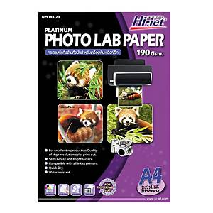 HI-JET กระดาษโฟโต้อิงค์เจ็ท แบบกึ่งมันกึ่งด้าน A4 190 แกรม 1 แพ็ค บรรจุ 20 แผ่น
