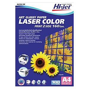 HI-JET กระดาษโฟโต้เลเซอร์ แบบมัน A4 160 แกรม 1 แพ็ค 100 แผ่น