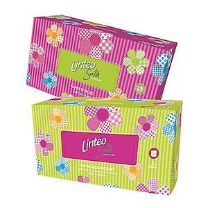 Linteo Satin papírzsebkendő dobozban, fehér, 200 darab/csomag, 2 rétegű