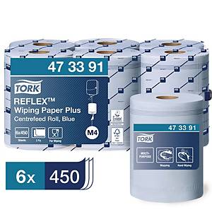 Tork Reflex™ poetsrol Plus, 2-laags, blauw, pak van 6 rollen