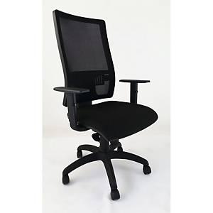 Cadeira funcional com braços de apoio em malha LGT - preto