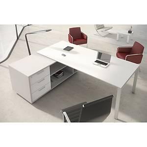 Conjunto mesa + aba Ofitres - larg. 2100 mm - branco brilhante/branco