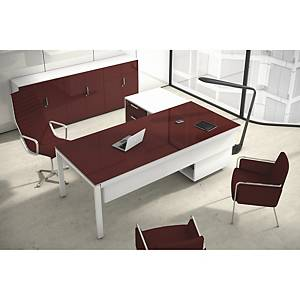 Conjunto mesa + aba Ofitres - larg. 2100 mm - bordeaux brilhante/branco