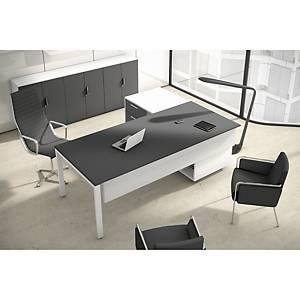Conjunto mesa + aba Ofitres - larg. 2100 mm - antracite mate/branco
