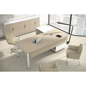Conjunto mesa + aba Ofitres - larg. 2100 mm - carvalho/branco