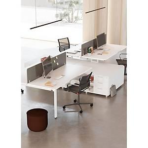 Conjunto mesa + aba Ofitres - larg. 2100 mm - branco/branco