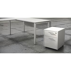 LUXE PEDESTAL DRAWER+FILING CAB WH SH