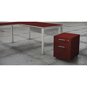 LUXE PEDESTAL DRAWER+FILING CAB D RED SH