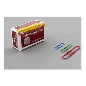 Barevné kancelářské spony SaKOTA 33 mm, mix barev, 100 ks