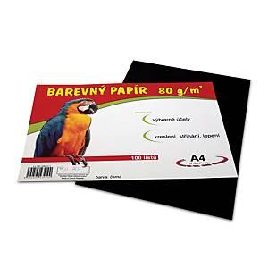 Stepa farebný papier A4 80g/m2 čierny, balenie 100 listov
