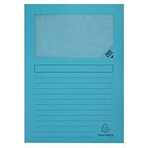 Pack de 25 subcarpetas con ventana Exacompta - A4 - cartulina - azul