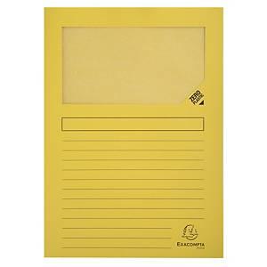 Pack de 25 subcarpetas con ventana Exacompta - A4 - cartulina - amarillo