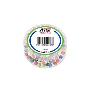 ASTAR ASSORTED COLOUR MAP PINS 6MM - PACK OF 100