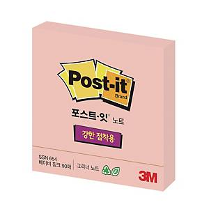 POST-IT 654 SUPER STICKY RECY NOTE 76X76  L/PINK