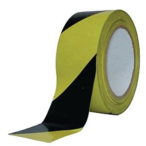 Blockingtape 8cmx500m black/yellow in dispenser box - per box