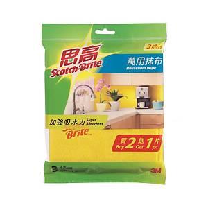 Scotch-Brite Household Wipe 33 x 36cm - Pack of 2+1