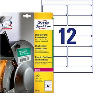 Étiquettes ultra-résistantes Avery Zweckform L7913, 99,1 x 42,3mm, blanc