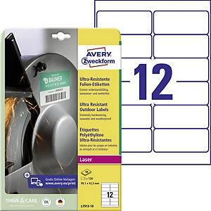 Avery ultraellenálló etikettek, modell: L7913-10, méret: 99,1 x 42,3 mm, fehér