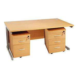 Beech Desk With 2 And 3 Drawer Pedestals 1600mm