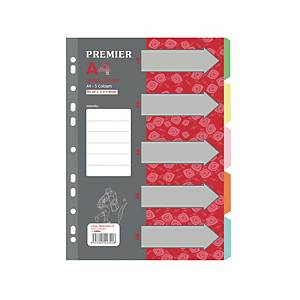 Premier 5 Tab Colour Divider - Pack of 10