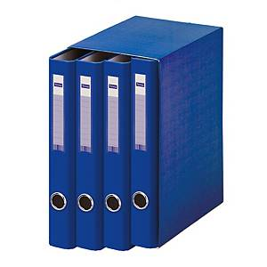 Módulo de 4 carpetas Lyreco - folio - 2 anillas - lomo 40 mm - azul