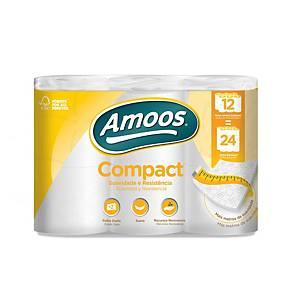 Pack de 12 rolos de papel higiénico Amoos - Folha dupla - 35 m