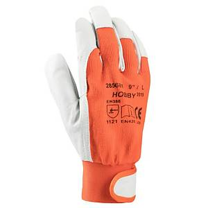 ARDON Hobby leather/cotton gloves, size 9, orange/grey