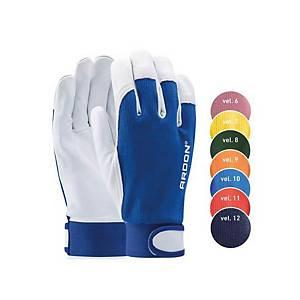 Kožené rukavice na všeobecnou manipulaci se zapínáním, šedá/modrá, velikost 10