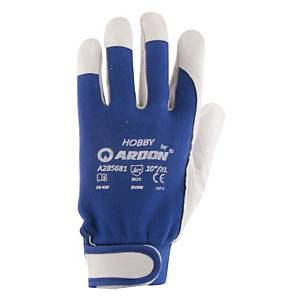 ARDON Hobby gloves leather/cotton, size 10, blue/grey