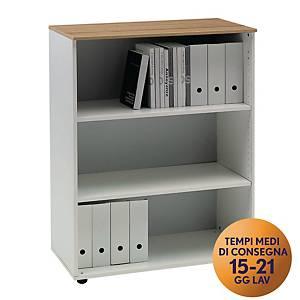 Armadio medio libreria TDM linea Open L 90 x P 48 x H 128 cm rovere / bianco