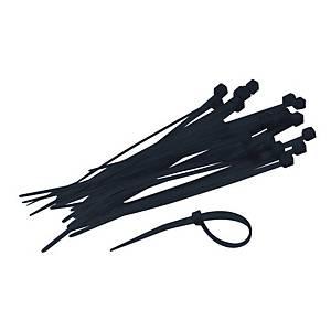Serre flex, l 3,6 x L 200 mm, noir, les 250 colliers de câblage