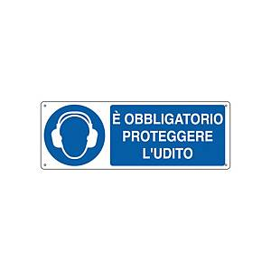 Cartello segnaletico di obbligo   È OBBLIGATORIO PROTEGGERE L UDITO