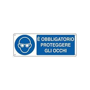 Cartello segnaletico di obbligo   È OBBLIGATORIO PROTEGGERE GLI OCCHI