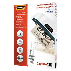 FELLOWES LAMINATING POUCHES A3 GLOSS 250 MICRONS (2 X 125) - PACK OF 100