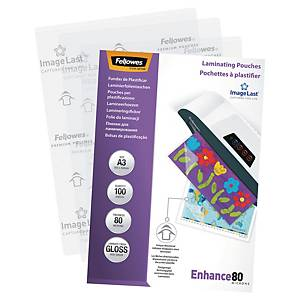 FELLOWES LAMINATING POUCHES A3 GLOSS 160 MICRONS (2 X 80) - PACK OF 100