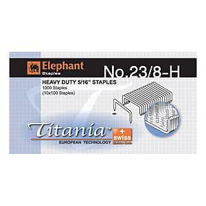 ตราช้าง ลวดเย็บกระดาษ ไททาเนีย 23/8-H1000 ลวด/กล่อง