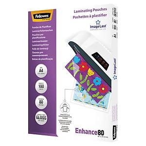 Fellowes 5306114 laminating pouches for hot laminating A4 160 mic - pack of 100