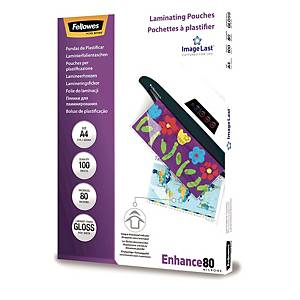 FELLOWES LAMINATING POUCHES A4 GLOSS 160 MICRONS (2 X 80) - PACK OF 100