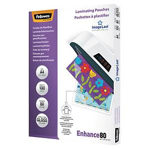 Fellowes A4 Laminating Pouches Gloss 160 Microns (2 X 80) - Pack of 100