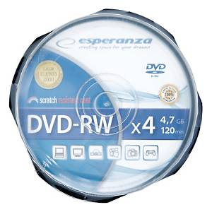 Płyty DVD-RW ESPERANZA 4,7GB, 4x, cake, 10 sztuk