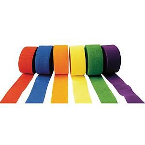 Crêpepapier, B 4 cm x L 25 m, heldere kleuren, per 6 rollen
