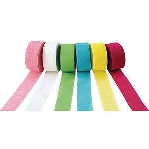 Papier crepon 4 cm x 25 m couleurs pastels - le paquet de 6