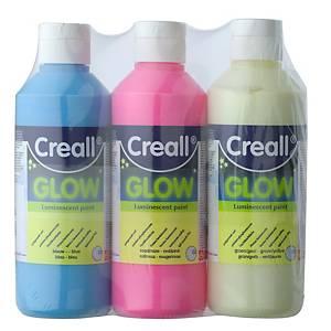Creall Glow peinture lumineux couleurs assorties - 250 ml - le paquet de 3