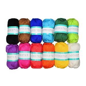 Colorations fil à tricoter acryl 75gr couleurs assorties - le paquet de 12
