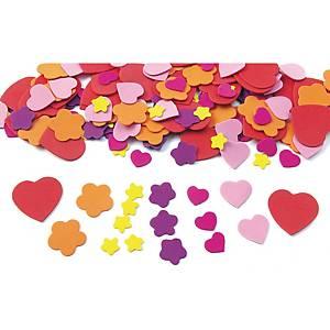 Colorations hartjes en bloemen in rubber, pak van 150 rubbervormen