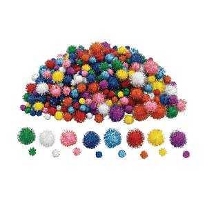 PK300 COLORATIONS GLITTER POMPONS ASS