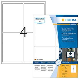 Herma heavy duty outdoor labels 9534 99,1x139mm white on A4 sheet - pack of 250