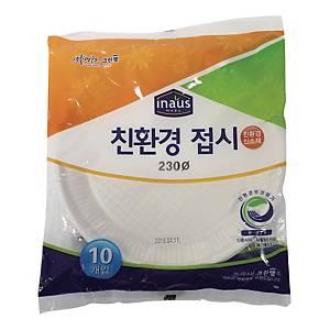 PK10 CLEANWRAP PAPER PLATES 23CM WHITE