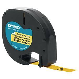 Ruban Dymo Letratag - plastique - 12 mm - noir sur jaune