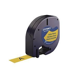 DYMO LetraTag (膠) 標籤帶 12毫米 x 4米 黑色字黃色底